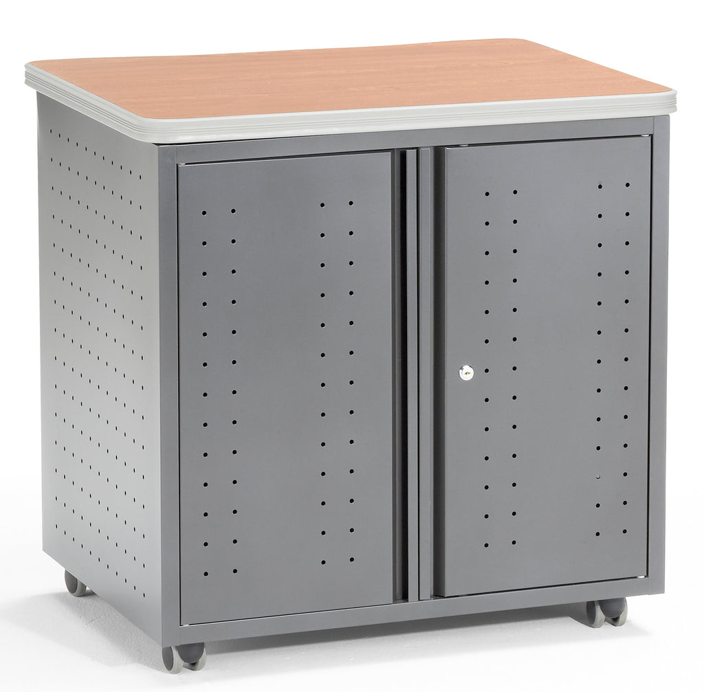 OFM Mesa Series Model 66746 Wheeled Locking Mobile Utility Station Cabinet with Laminate Top, Maple ; UPC: 811588011858 ; Image 1