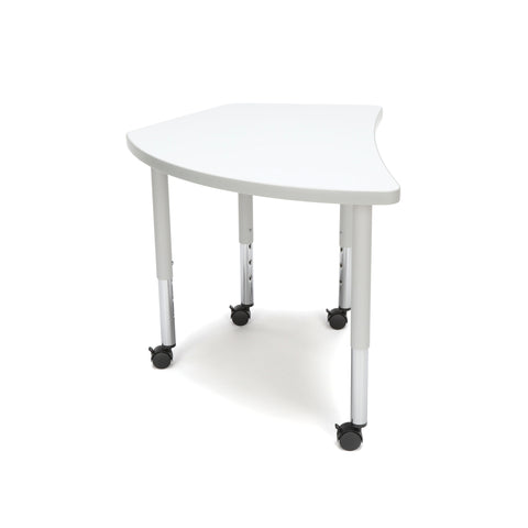 OFM Adapt Series Crescent Student Table - 20-28? Height Adjustable Desk with Casters, White (CREST-SLC) ; UPC: 845123096338 ; Image 4