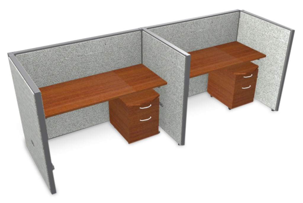 "OFM RiZe Series 47"" x 60"" 2-Unit Full Vinyl Privacy Station Panel System, 1 x 2 Configuration, Gray with Cherry Desk ; UPC: 811588018123 ; Image 1"