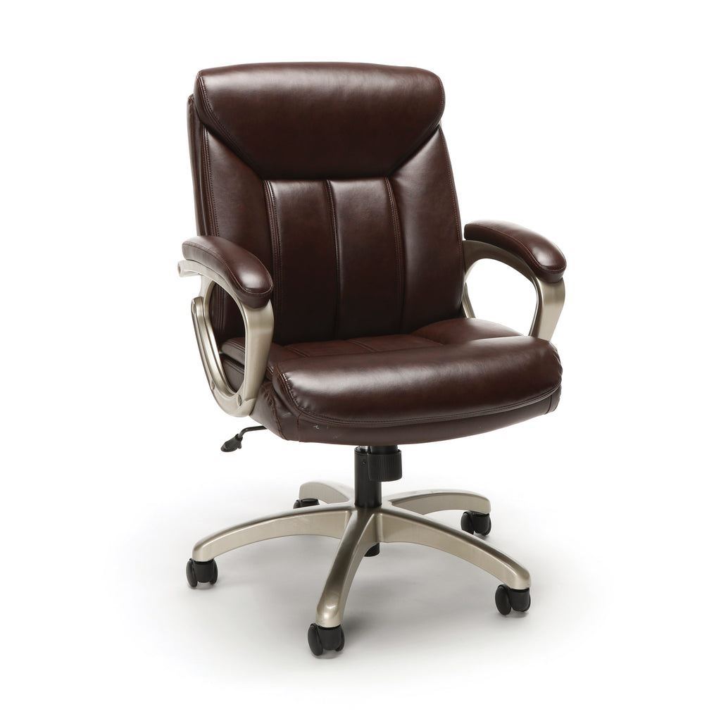 Essentials by OFM ESS-6020 Executive Office Chair, Brown with Champagne Frame ; UPC: 845123093269 ; Image 1