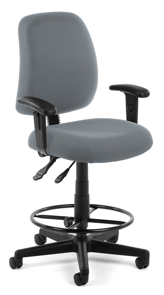 OFM Posture Series Model 118-2-AA-DK Drafting Task Chair, Fabric, Mid-Back, Gray ; UPC: 845123011218 ; Image 1