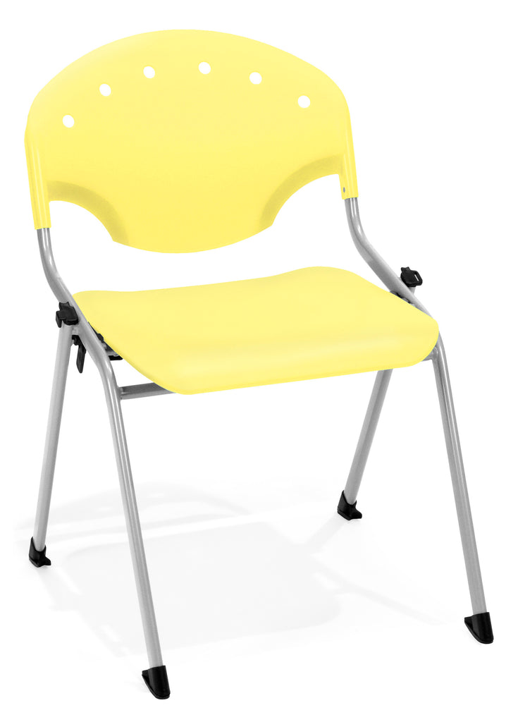 "OFM Rico Armless Stacking Chair - Multipurpose 12"" Chair, Yellow (305) Pack of 4 ; UPC: 811588013623 ; Image 1"
