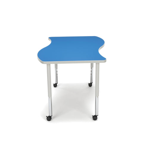 OFM Adapt Series Large Wave Standard Table - 25-33? Height Adjustable Desk with Casters, Blue (WAVE-L-LLC) ; UPC: 845123096147 ; Image 5