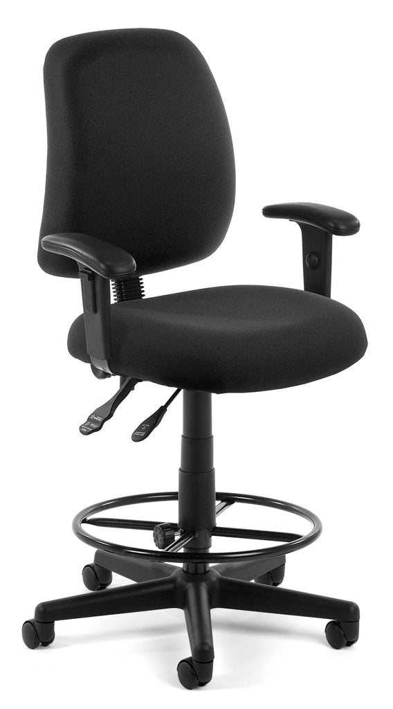OFM Posture Series Model 118-2-AA-DK Drafting Task Chair, Fabric, Mid-Back, Black ; UPC: 845123011256 ; Image 1