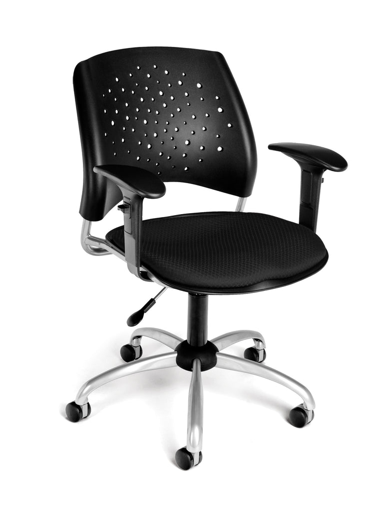 OFM Stars Swivel Chair with Arms, Black ; UPC: 845123013205 ; Image 1