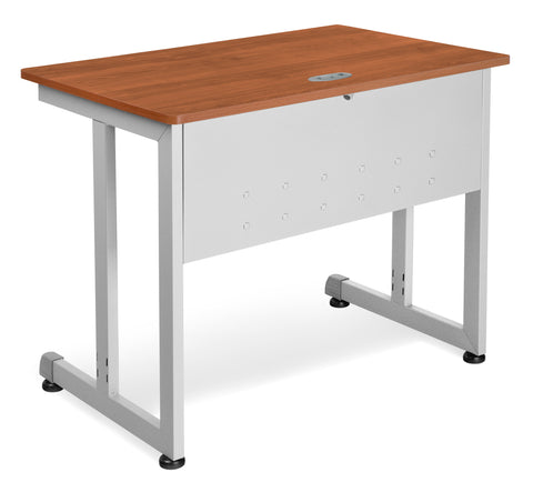"OFM Model 55139 24"" x 36"" Modular Computer and Training Table, Cherry with Silver Frame ; UPC: 811588016976 ; Image 1"