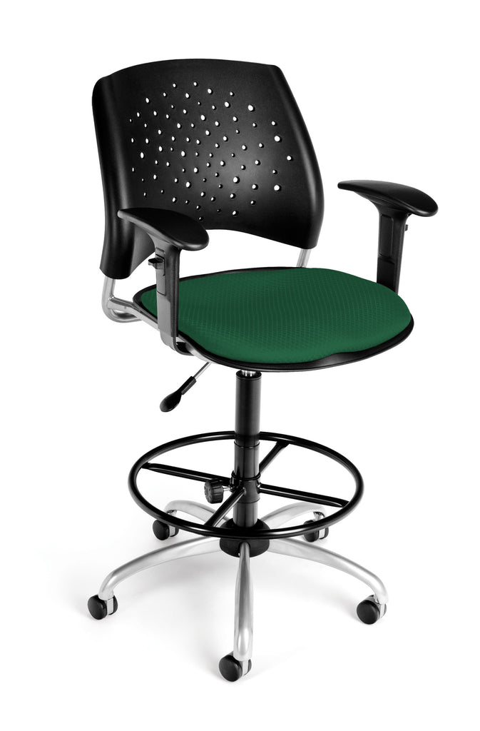 OFM Stars Series Model 326-AA3-DK Fabric Swivel Task Chair with Arms and Drafting Kit, Forest Green ; UPC: 845123013359 ; Image 1