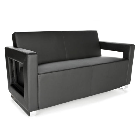 OFM Distinct Series Model 832 Soft Seating Lounge Sofa, Polyurethane, Black with Chrome Base ; UPC: 845123034354 ; Image 1