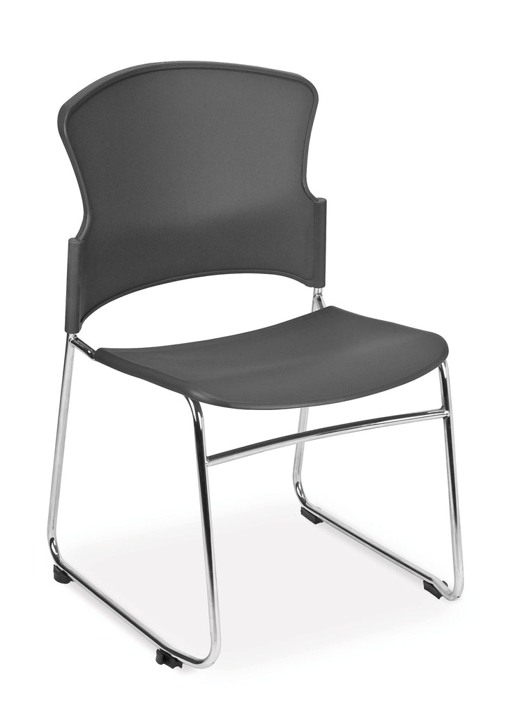 OFM Core Collection Multi-Use Plastic Stack Chair, Pack of 4, in Gray (310-P-4PK-A01) ; UPC: 845123049143 ; Image 1