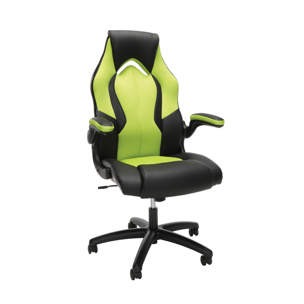 Essentials by OFM ESS-3086 High-Back Racing Style Bonded Leather Gaming Chair, Green ; UPC: 192767001205 ; Image 1