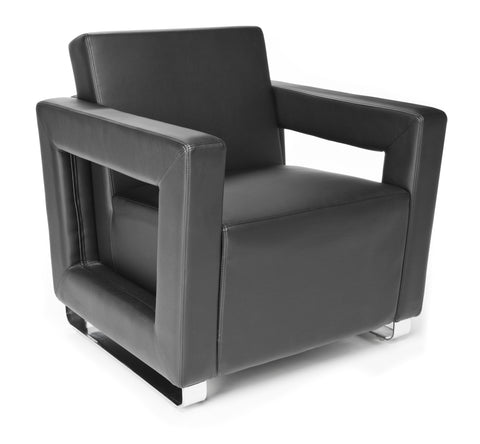 OFM Distinct Series Model 831 Soft Seating Lounge Chair, Polyurethane, Black with Chrome Base ; UPC: 845123023907 ; Image 1