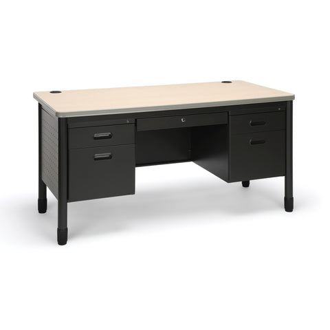 OFM Mesa Series Model 66360 5-Drawer Steel Teacher's Desk with Laminate Top, Maple Finish ; UPC: 811588011704 ; Image 1