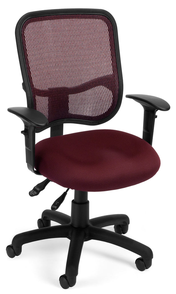 OFM Comfort Series Model 130-AA3 Ergonomic Mesh Swivel Task Chair with Arms, Mid Back, Wine ; UPC: 845123011683 ; Image 1