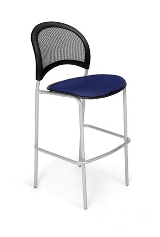 OFM 338S-2203 Moon Cafe Height Silver Chair, Navy ; UPC: 845123004852 ; Image 1