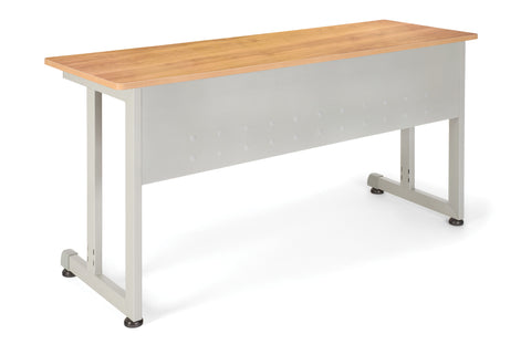 "OFM Model 55141 20"" x 55"" Modular Utility and Training Table, Maple with Silver Frame ; UPC: 811588016990 ; Image 1"