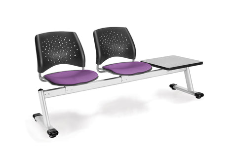 OFM 323T-2214-GRY Stars 3-Unit Beam Seating with 2 Seats and 1 Table ; UPC: 845123007327 ; Image 1