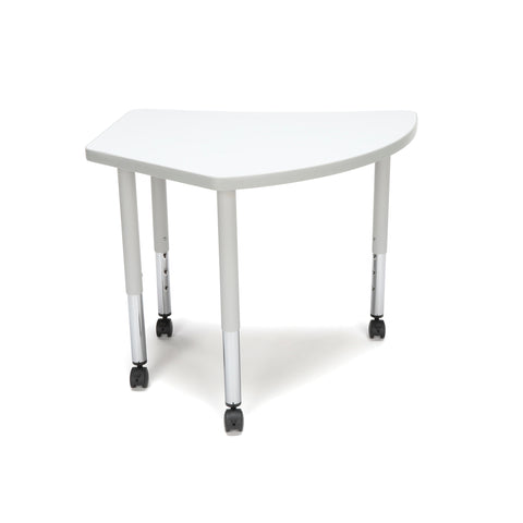 OFM Adapt Series Crescent Student Table - 20-28? Height Adjustable Desk with Casters, White (CREST-SLC) ; UPC: 845123096338 ; Image 3