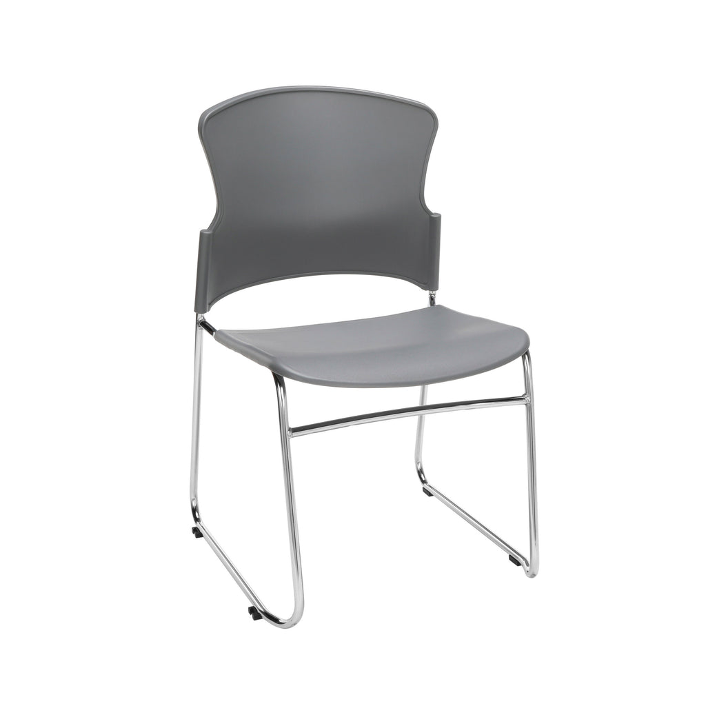 OFM Multi-Use Model 310-P Stack Chair with Plastic Seat and Back, Gray ; UPC: 811588013869 ; Image 1