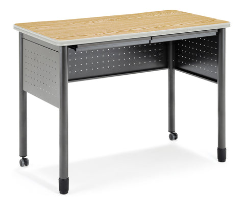 "OFM Mesa Series Model 66121 Standing Height Training Table and Desk with Drawers, 27.75"" X 47.25"", Oak ; UPC: 845123052839 ; Image 1"