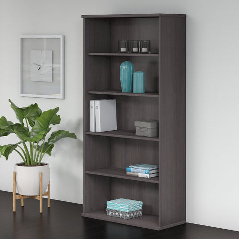 Bush Studio C 36W 5 Shelf Bookcase, Storm Gray SCB136SG ; UPC: 042976070762 ; Image 2