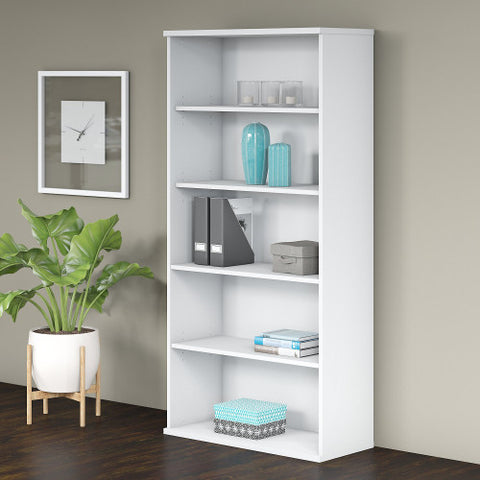 Bush Studio C 36W 5 Shelf Bookcase, White SCB136WH ; UPC: 042976070632 ; Image 2