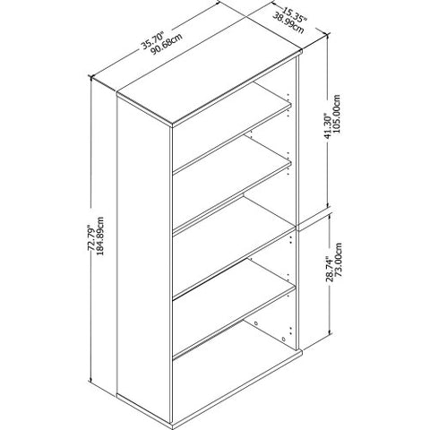 Bush Studio C 36W 5 Shelf Bookcase, White SCB136WH ; UPC: 042976070632 ; Image 3