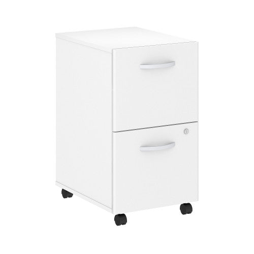 Bush Studio C 16W 2 Drawer Mobile Pedestal - Assembled, White SCF116WHSU ; UPC: 042976071905 ; Image 1