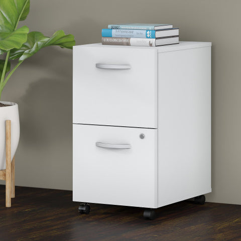 Bush Studio C 16W 2 Drawer Mobile Pedestal - Assembled, White SCF116WHSU ; UPC: 042976071905 ; Image 2