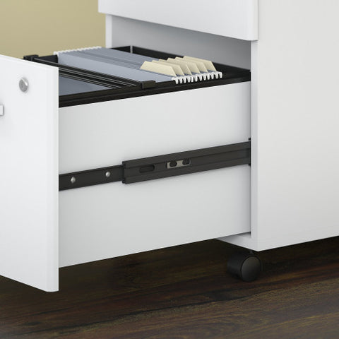 Bush Studio C 16W 2 Drawer Mobile Pedestal - Assembled, White SCF116WHSU ; UPC: 042976071905 ; Image 3