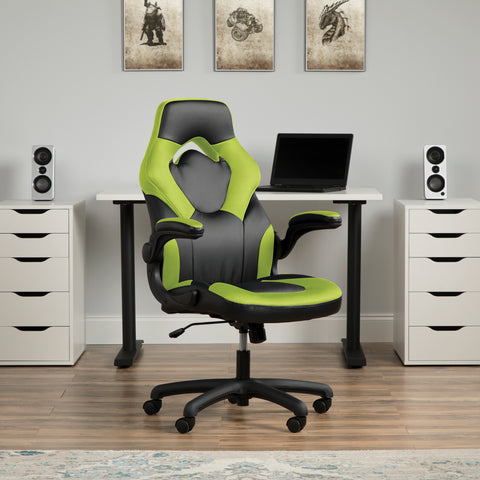 OFM Essentials Collection Racing Style Bonded Leather Gaming Chair, in Green (ESS-3085-GRN) ; UPC: 845123089293 ; Image 12
