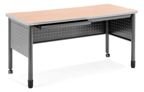"OFM Mesa Series Model 66150 Steel Training Table and Desk with Pencil Drawers, 27.75"" x 59"", Maple ; UPC: 811588011773 ; Image 1"