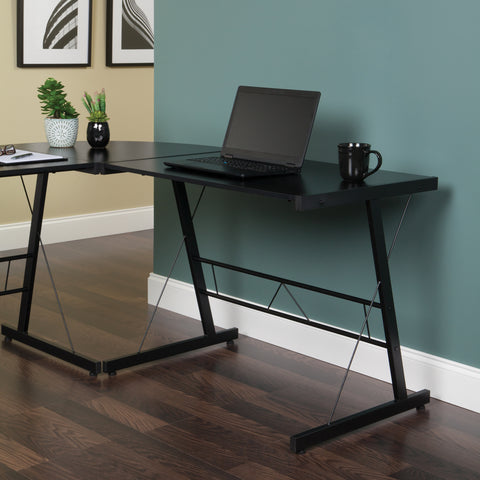 "OFM Essentials Collection 60"" Metal Frame L-Shaped Desk, Corner Computer Desk, in Black (ESS-1021 -BLK-BLK) ; UPC: 192767000079 ; Image 13"