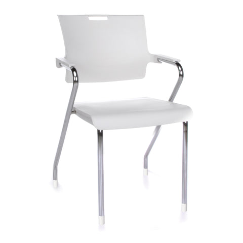 OFM Smart Series Model 304-P Plastic Stack Chair, White ; UPC: 845123039120 ; Image 1
