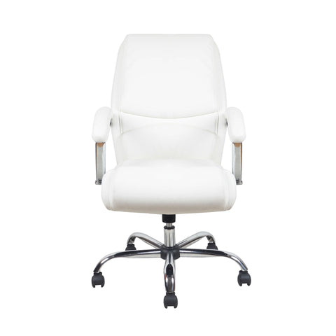 Essentials by OFM ESS-6070 Ergonomic High-Back Bonded Leather Executive Chair, White with Chrome Finish ; UPC: 089191014034 ; Image 2