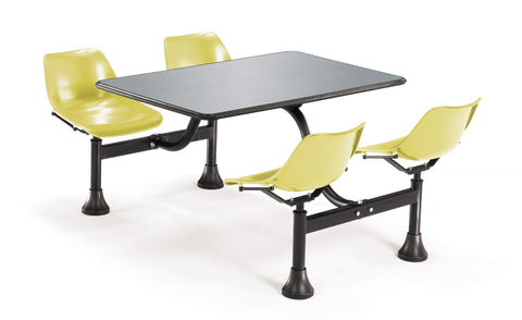 "OFM Cluster Seating Table with 24"" Stainless Steel Top and Yellow Seats ; UPC: 811588012237 ; Image 1"