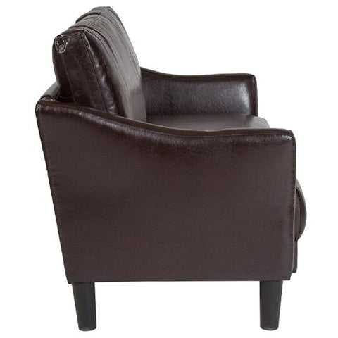 Flash Furniture Asti Upholstered Loveseat in Brown Leather SLSF9152BRNGG ; Image 2 ; UPC 889142500254