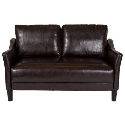 Flash Furniture Asti Upholstered Loveseat in Brown Leather SLSF9152BRNGG ; Image 4 ; UPC 889142500254