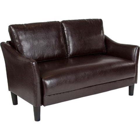 Flash Furniture Asti Upholstered Loveseat in Brown Leather SLSF9152BRNGG ; Image 1 ; UPC 889142500254