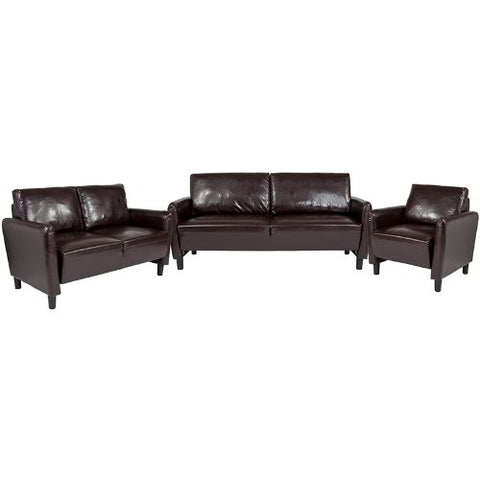 Flash Furniture Candler Park 3 Piece Upholstered Set in Brown Leather SLSF919SETBRNGG ; Image 1 ; UPC 889142499725