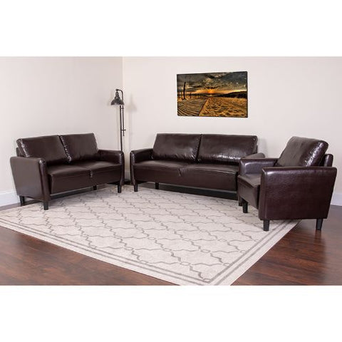 Flash Furniture Candler Park 3 Piece Upholstered Set in Brown Leather SLSF919SETBRNGG ; Image 2 ; UPC 889142499725