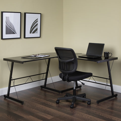 "OFM Essentials Collection 60"" Metal Frame L-Shaped Desk, Corner Computer Desk, in Black (ESS-1021 -BLK-BLK) ; UPC: 192767000079 ; Image 11"
