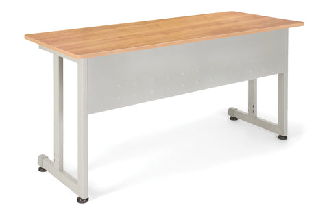 "OFM Model 55142 24"" x 55"" Modular Utility and Training Table, Maple with Silver Frame ; UPC: 811588017027 ; Image 1"