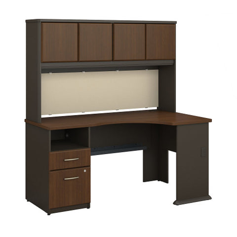 Bush Series A Single Pedestal Corner Desk with 60W Hutch Storage, Walnut SRA007WA ; UPC: 042976516369 ; Image 1