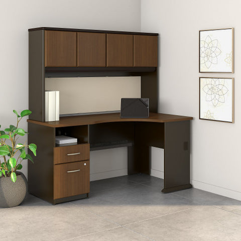 Bush Series A Single Pedestal Corner Desk with 60W Hutch Storage, Walnut SRA007WA ; UPC: 042976516369 ; Image 2