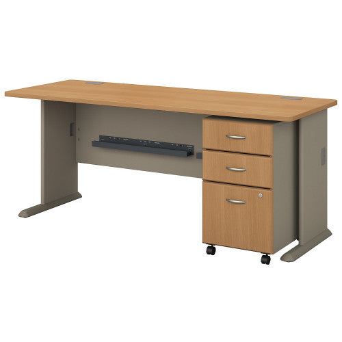 Bush Series A 72W Desk with 3Dwr Mobile Pedestal (Assembled), Light Oak SRA013LOSU ; UPC: 042976521462 ; Image 1