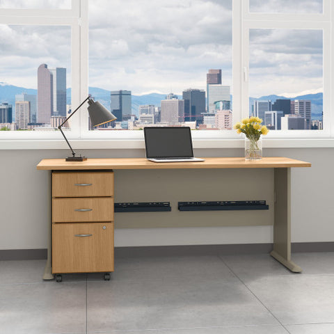Bush Series A 72W Desk with 3Dwr Mobile Pedestal (Assembled), Light Oak SRA013LOSU ; UPC: 042976521462 ; Image 2