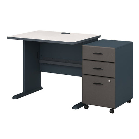 Bush Series A 36W X 27D Desk with 3Dwr Mobile Pedestal, Slate SRA024SLSU ; UPC: 042976521516 ; Image 1