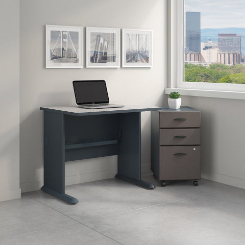 Bush Series A 36W X 27D Desk with 3Dwr Mobile Pedestal, Slate SRA024SLSU ; UPC: 042976521516 ; Image 2