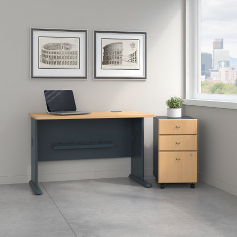 Bush Series A 48W Desk with 3Dwr Mobile Pedestal (Assembled), Beech SRA025BESU ; UPC: 042976521523 ; Image 2