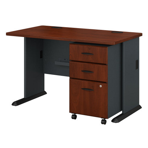 Bush Series A 48W Desk with 3Dwr Mobile Pedestal (Assembled), Hansen Cherry SRA025HCSU ; UPC: 042976516840 ; Image 1
